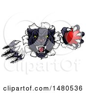 Clipart Of A Vicious Roaring Black Panther Mascot Shredding Through A Wall With A Cricket Ball Royalty Free Vector Illustration by AtStockIllustration