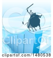 Silhouetted Business Man Holding A Sword And Riding A Stock Market Bull On A Blue Bar Graph