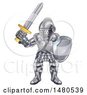Clipart Of A Fully Armored Knight Holding A Sword And Shield Royalty Free Vector Illustration by AtStockIllustration