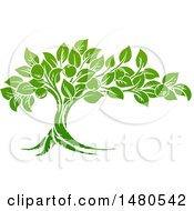 Clipart Of A Green Apple Tree Royalty Free Vector Illustration by AtStockIllustration