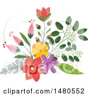 Clipart Of A Floral Bouquet Design Element Royalty Free Vector Illustration