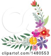 Clipart Of A Floral Bouquet Border Design Element Royalty Free Vector Illustration