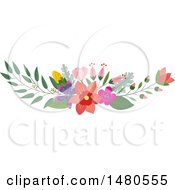 Clipart Of A Floral Bouquet Border Design Element Royalty Free Vector Illustration by Cherie Reve