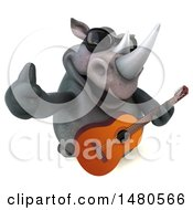 3d Reggie Rhinoceros Mascot Holding A Guitar On A White Background