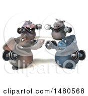 Poster, Art Print Of 3d Elephant Hippo Rhino And Ape Working Out On A White Background