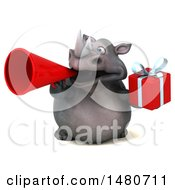 Poster, Art Print Of 3d Reggie Rhinoceros Mascot On A White Background