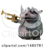 3d Reggie Rhinoceros Mascot On A White Background