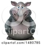 Clipart Of A 3d Reggie Rhinoceros Mascot On A White Background Royalty Free Illustration