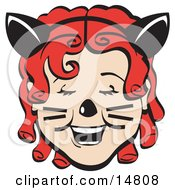 Poster, Art Print Of Pretty Red Curly Red Haired Girl Wearing A Headband With Cat Ears Her Nose Painted And Cheeks With Whiskers Laughing On Halloween
