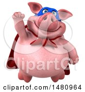 Clipart Of A 3d Super Chubby Pig On A White Background Royalty Free Illustration