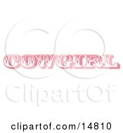 Pink Western Cowgirl Bathroom Sign Clipart Illustration