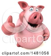 Clipart Of A 3d Chubby Pig Giving A Thumb Up On A White Background Royalty Free Illustration by Julos