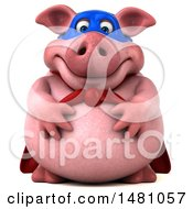 Clipart Of A 3d Chubby Super Pig On A White Background Royalty Free Illustration by Julos