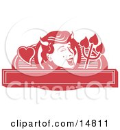 Pretty Shedevil With A Mole And Horns Over A Blank Banner Clipart Illustration by Andy Nortnik