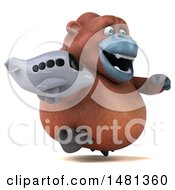 Clipart Of A 3d Orangutan Monkey Mascot On A White Background Royalty Free Illustration by Julos