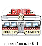 Retro Diner Building With A Clock On It And Signs Advertising Burgers And Malts Clipart Illustration