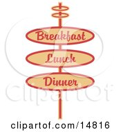 Vintage Tan Restaurant Sign Advertising Breakfast Lunch And Dinner