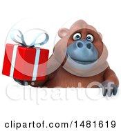 Poster, Art Print Of 3d Orangutan Monkey Mascot On A White Background
