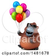 Clipart Of A 3d Orangutan Monkey Mascot On A White Background Royalty Free Illustration