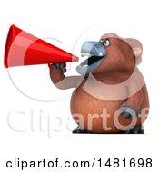 3d Orangutan Monkey Mascot Using A Megaphone On A White Background