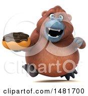3d Orangutan Monkey On A White Background