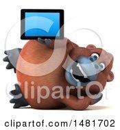 3d Orangutan Monkey Mascot Holding A Tablet On A White Background