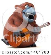3d Orangutan Monkey Mascot Playing A Guitar On A White Background