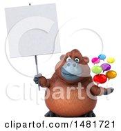 3d Orangutan Monkey Mascot On A White Background