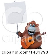 3d Orangutan Monkey Mascot Holding A Sign And Guitar On A White Background