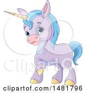 Clipart Of A Cute Purple Baby Unicorn With Blue Hair Royalty Free Vector Illustration