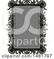 Clipart Of A Gray And Black Vintage Floral Frame Royalty Free Vector Illustration