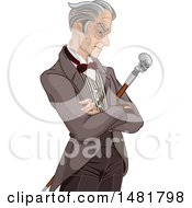 Clipart Of A Senior Gentleman With A Skull Cane In His Folded Arms Royalty Free Vector Illustration