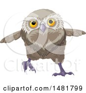 Clipart Of A Cute Owl Running Royalty Free Vector Illustration by Pushkin