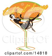 Woman In A Cat Costume Lying In A Giant Martini Glass At A Cocktail Lounge