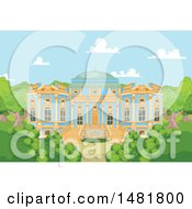 Clipart Of A Blue And Gold Palace Exterior And Courtyard Royalty Free Vector Illustration