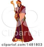 Clipart Of A Villainous Grand Vizier Holding A Cobra Staff Royalty Free Vector Illustration by Pushkin