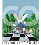 Rear View Of A Late White Rabbit Of Wonderland Running Down A Checkered Garden Path