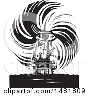 Human Eye In A Hurricane Over An Oil Rig Black And White Woodcut Style