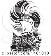 Poster, Art Print Of Human Eye In A Hurricane Over A Greek Ship Black And White Woodcut Style