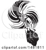 Clipart Of A Crowd Of Refugees Facing A Human Eye In A Hurricane Black And White Woodcut Style Royalty Free Vector Illustration by xunantunich