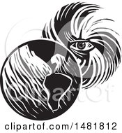 Human Eye In A Hurricane Facing Planet Earth Black And White Woodcut Style