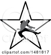 Clipart Of A Black Silhouetted Man Doing A Karate Kick Over A Star Royalty Free Vector Illustration