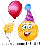 Poster, Art Print Of Yellow Emoji Smiley Face Wearing A Party Hat And Holding A Balloon