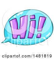 Clipart Of A Purple Hi In A Blue Speech Bubble Royalty Free Vector Illustration by yayayoyo