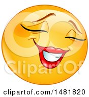 Poster, Art Print Of Shy Female Yellow Emoji Smiley Face