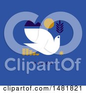 Clipart Of A Dove With An Olive Branch In A Sunset Over Peace Text On Blue Royalty Free Vector Illustration by elena