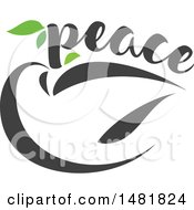 Clipart Of A Dove With Peace Text And An Olive Branch Royalty Free Vector Illustration