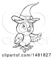 Clipart Of A Black And White Witch Owl Wearing A Hat Royalty Free Vector Illustration
