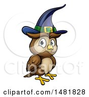 Clipart Of A Cartoon Witch Owl Wearing A Hat Royalty Free Vector Illustration