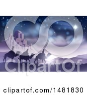 Clipart Of A Shooting Star Of David Over The Wise Men And Bethlehem Royalty Free Vector Illustration by AtStockIllustration